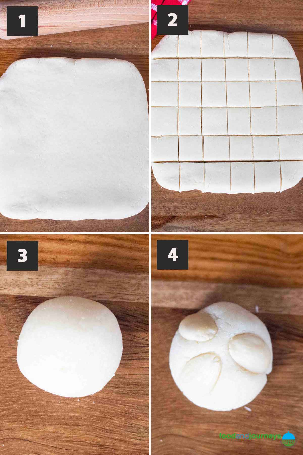 Latest (Aug 2021) first part of a collage of images showing the step by step process on how to make baked marzipan desserts at home.