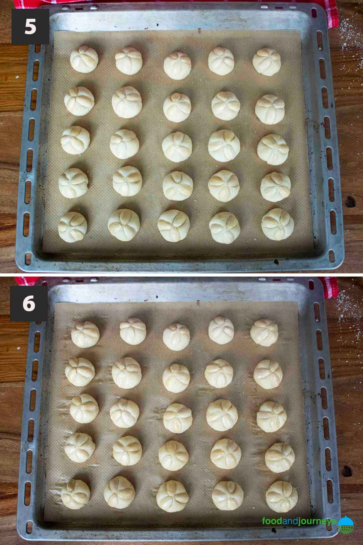 Latest (Aug 2021) second part of a collage of images showing the step by step process of making marzipan cookies for Christmas.