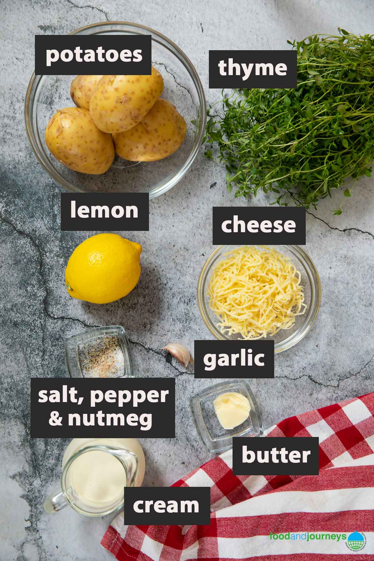 All the ingredients you need to prepare kartoffelgratin at home.