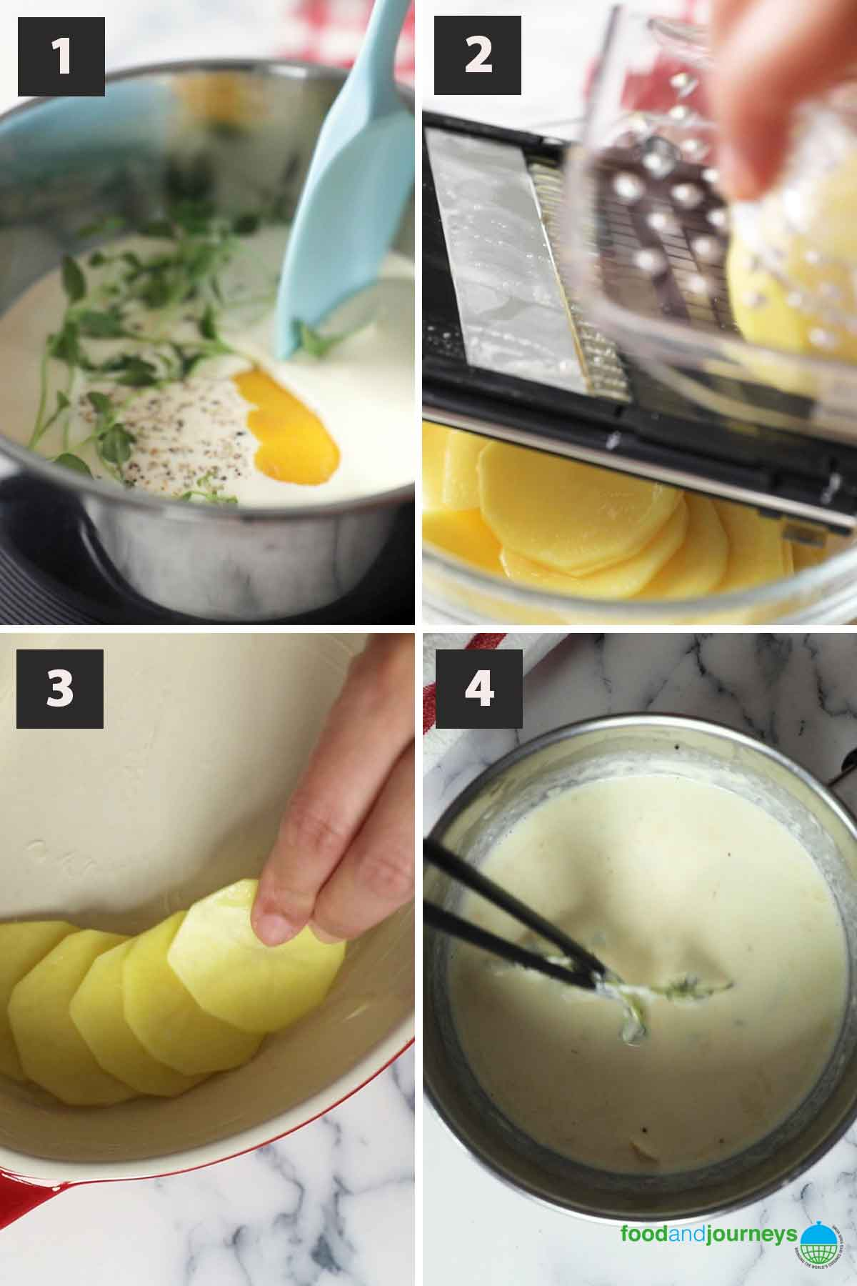 First part of a collage of images showing the step by step process of preparing kartoffelgratin.