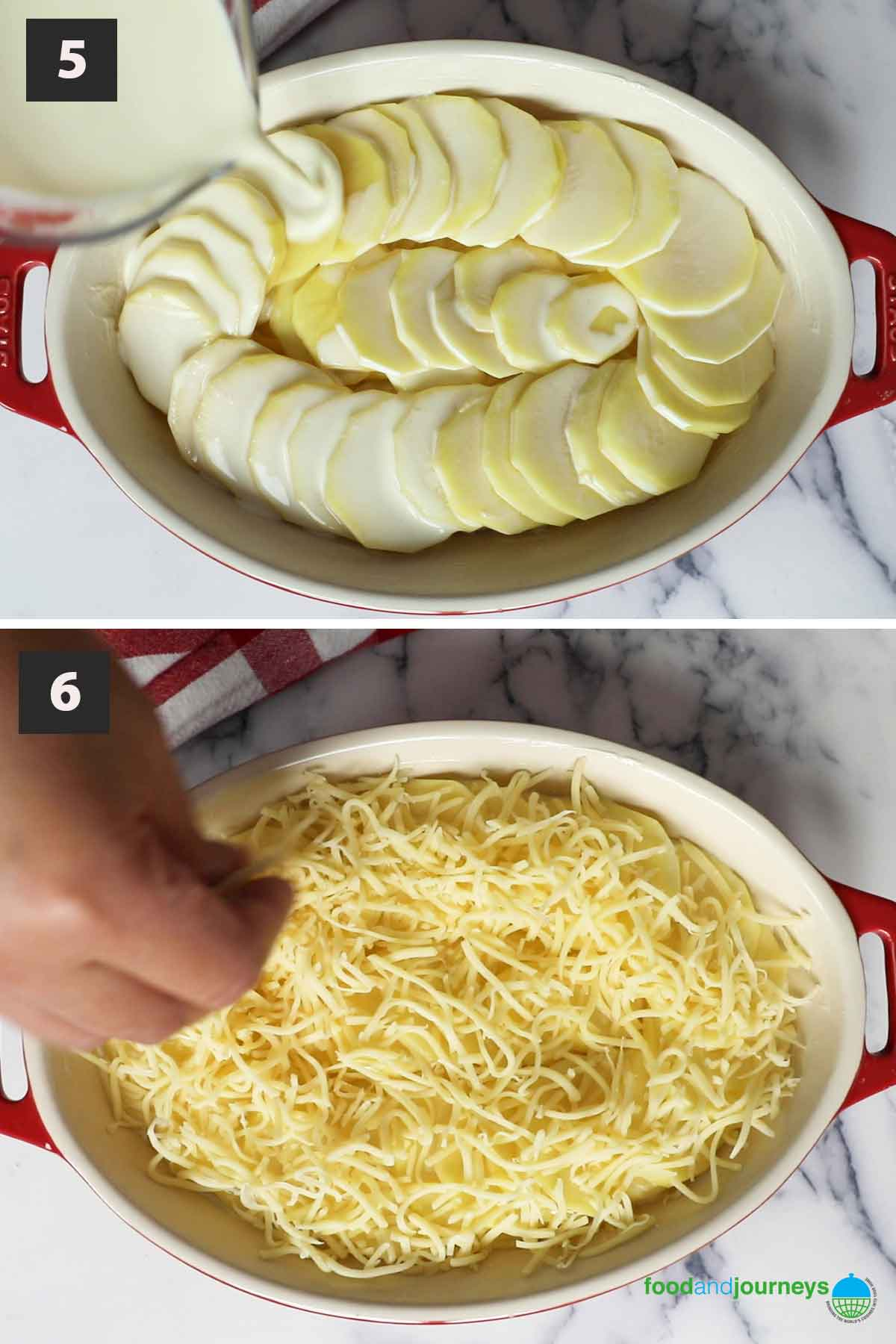 Second part of a collage of images showing the step by step process of making German Potato Gratin at home.