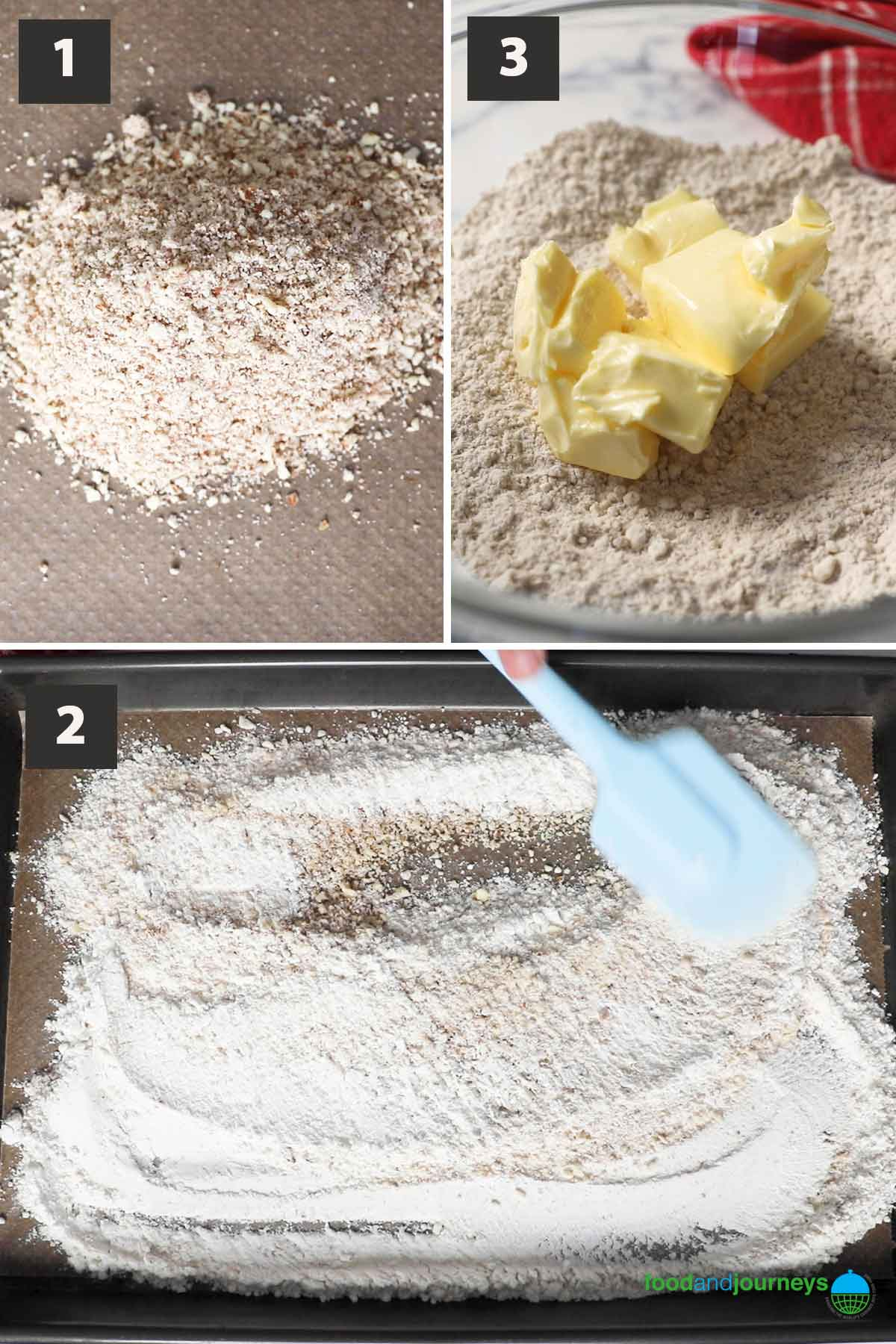 Latest, first part of a collage of images showing the step by step process of making polvorones at home.