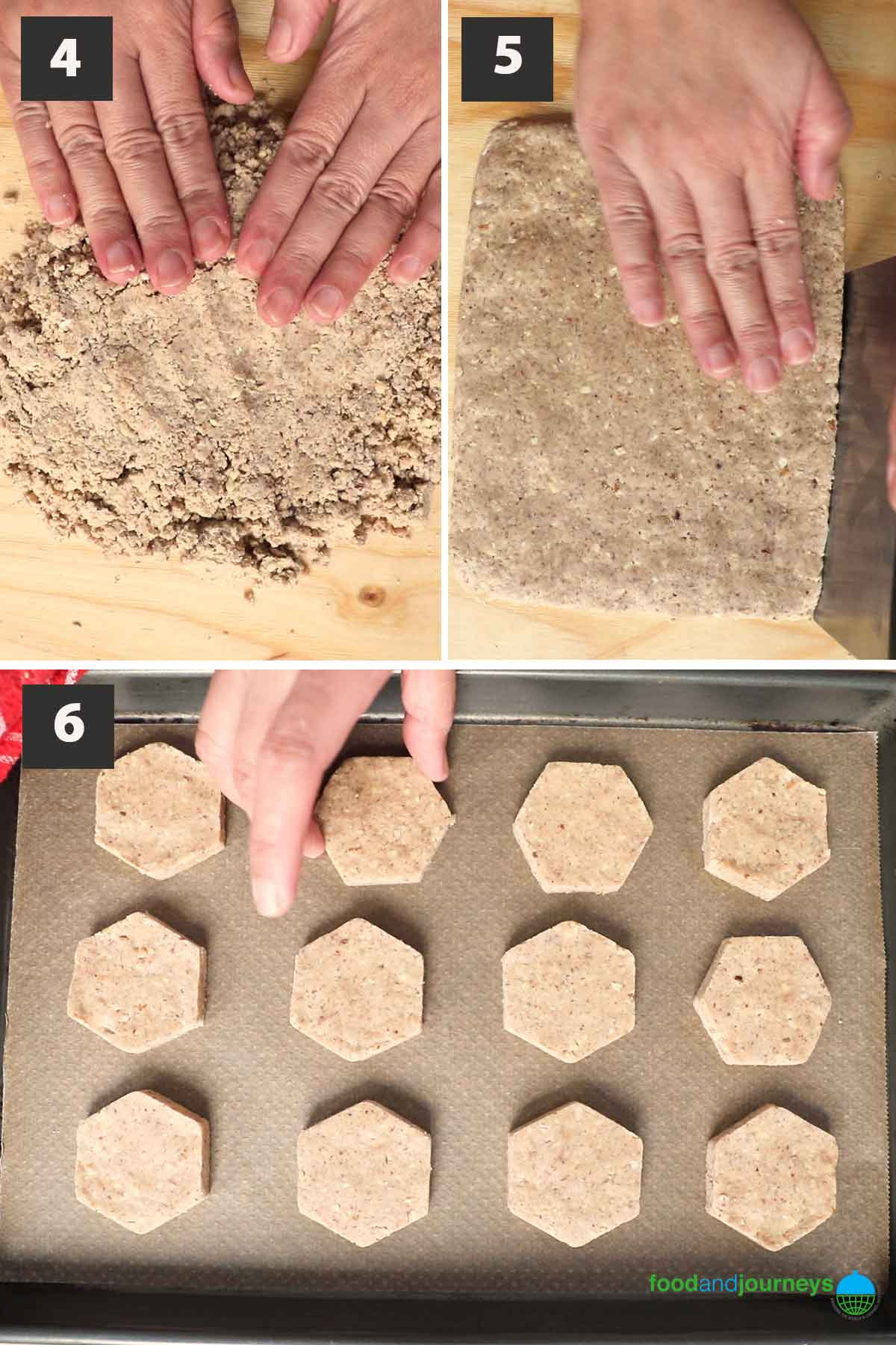 Latest, second part of a collage of images showing the step by step process of making Spanish Christmas cookies.