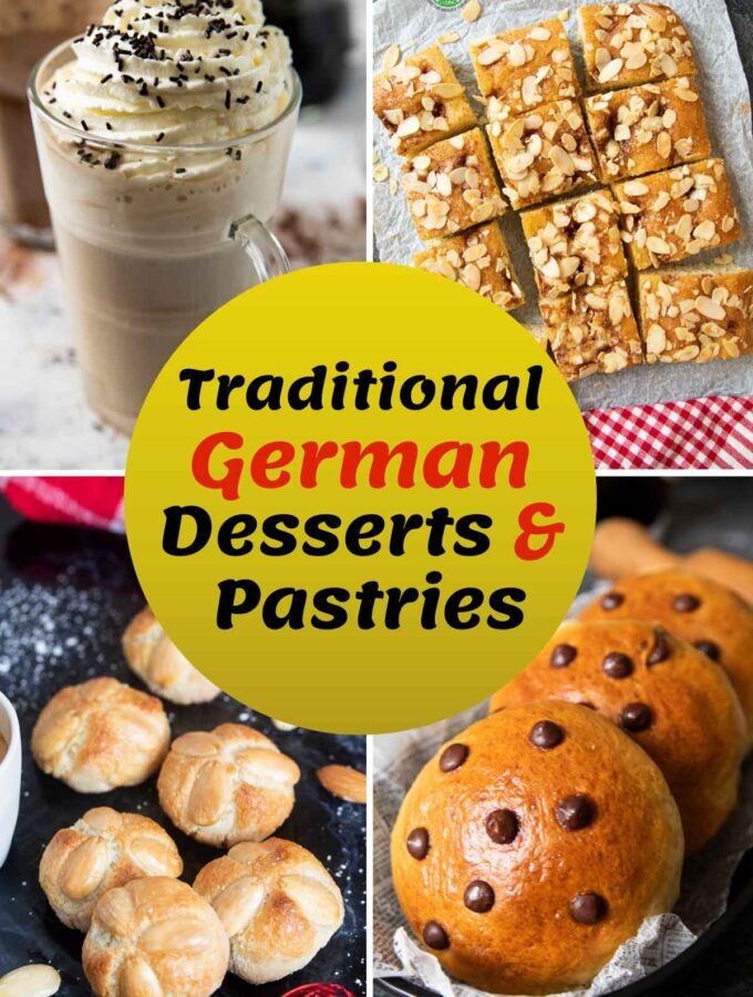 Cover image for Traditional German Desserts and Recipes, showing a collage of German sweets and treats.