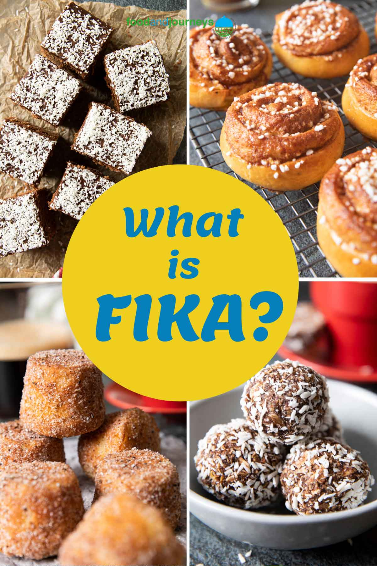 Cover for FIKA Recipes, showing a collage of traditional fika treats.