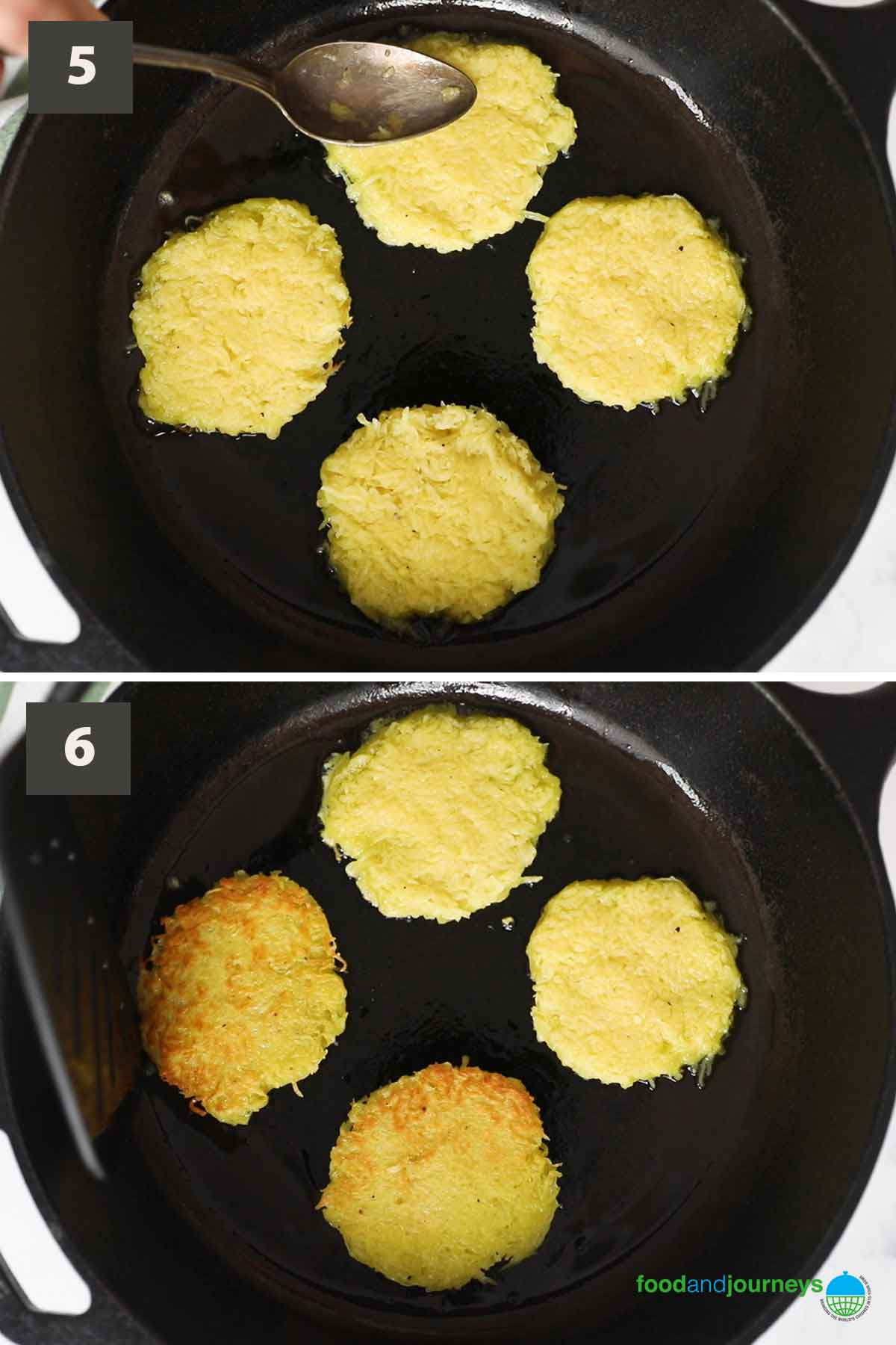 Second part of a collage of images showing how to cook kartoffelpuffer at home.
