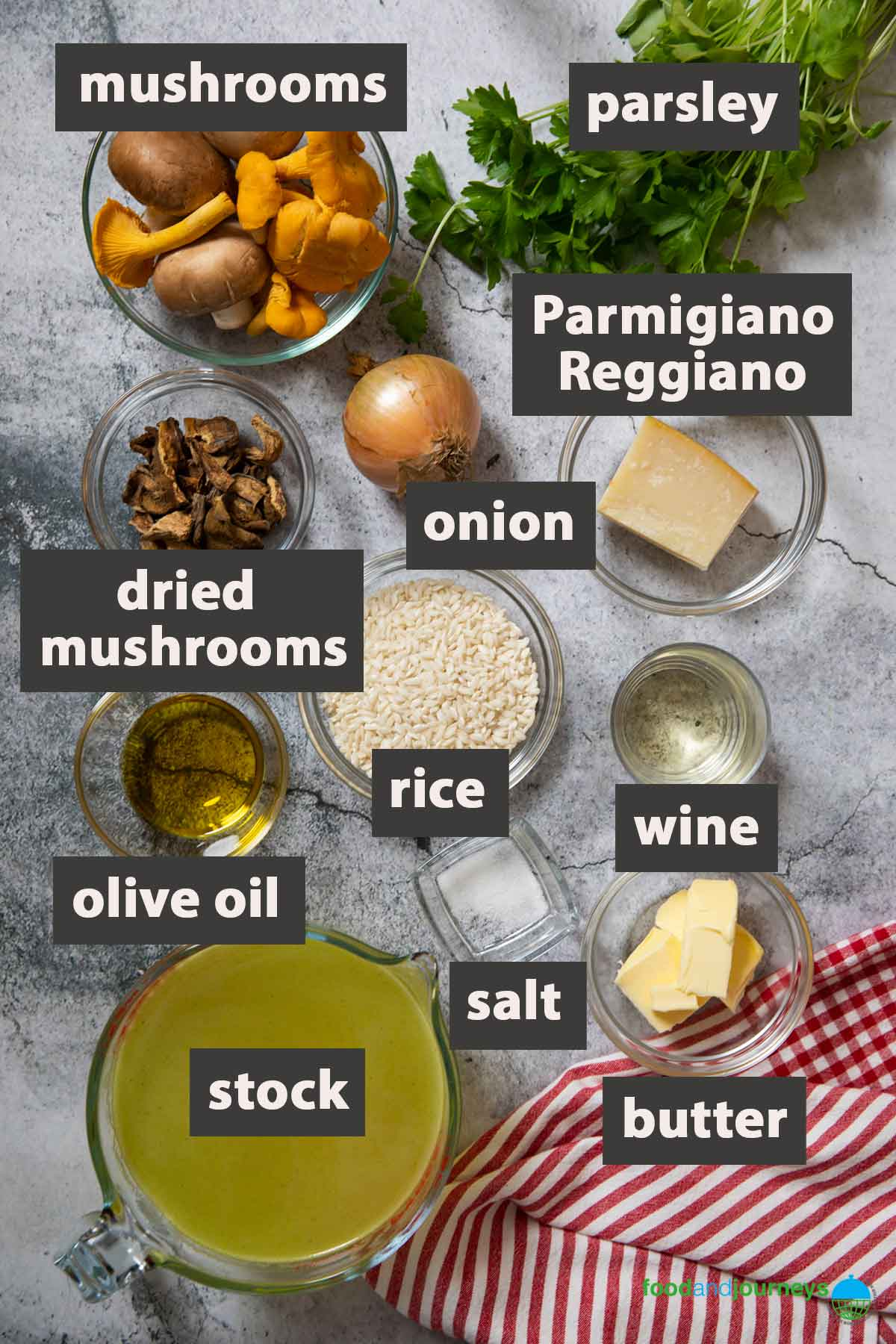 All the ingredients you need to prepare this easy mushroom risotto at home.