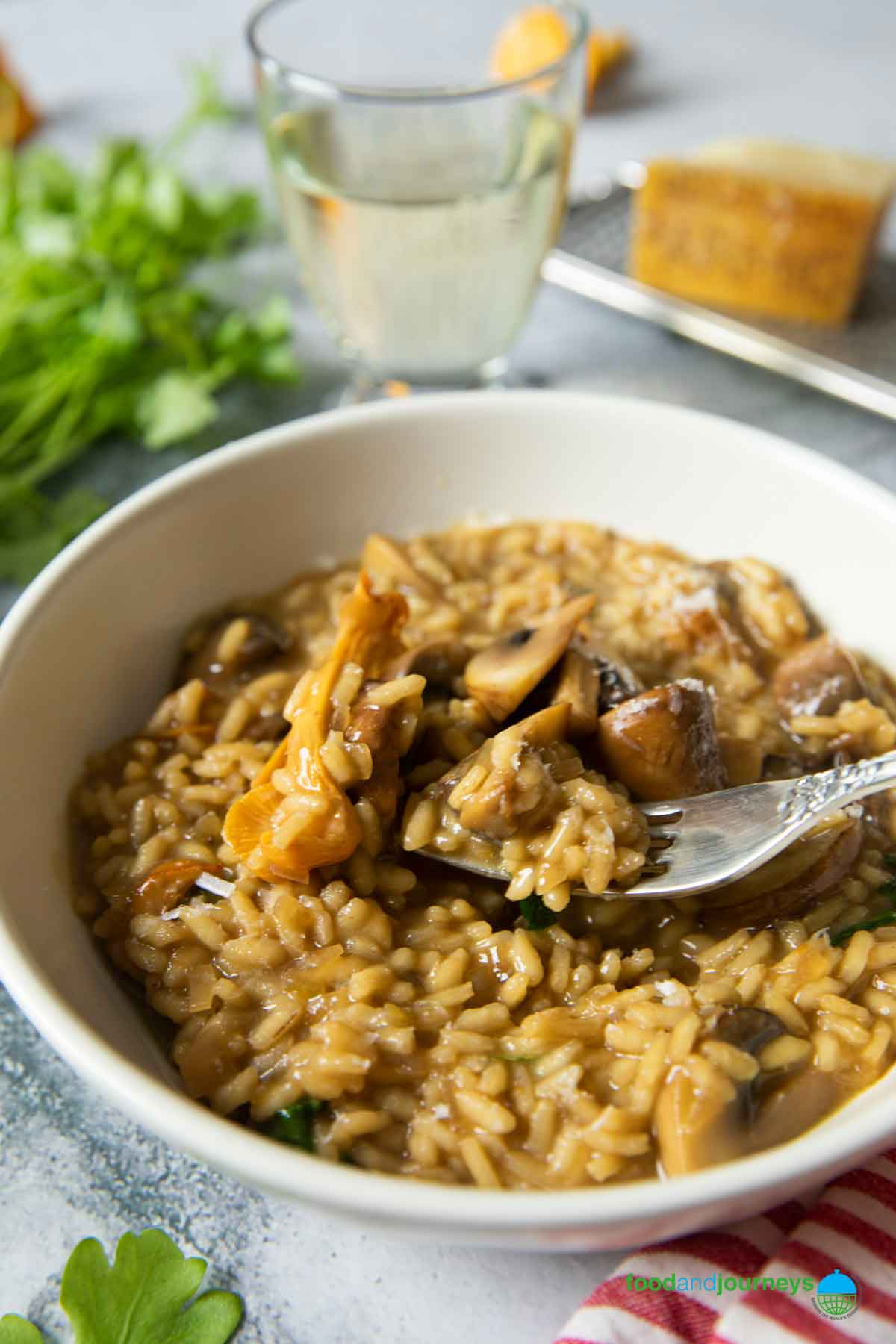 A closer shot of a serving of risotto with mushrooms, highlighting the creaminess of the rice and the bits of mushrooms in there.