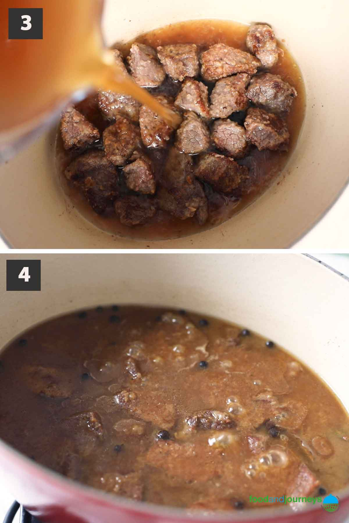 Second part of a collage of images showing the step by step process on how to prepare Swedish allspice stew at home.