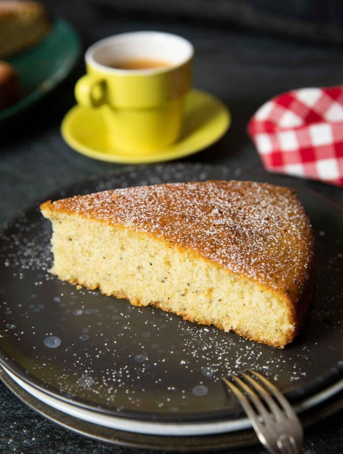 A shot of a slice of Swedish cardamom cake, highlighting the texture of the cake.