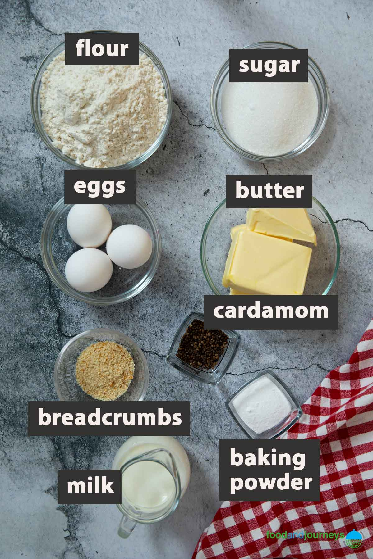 All the ingredients you need to prepare easy cardamom cake at home.