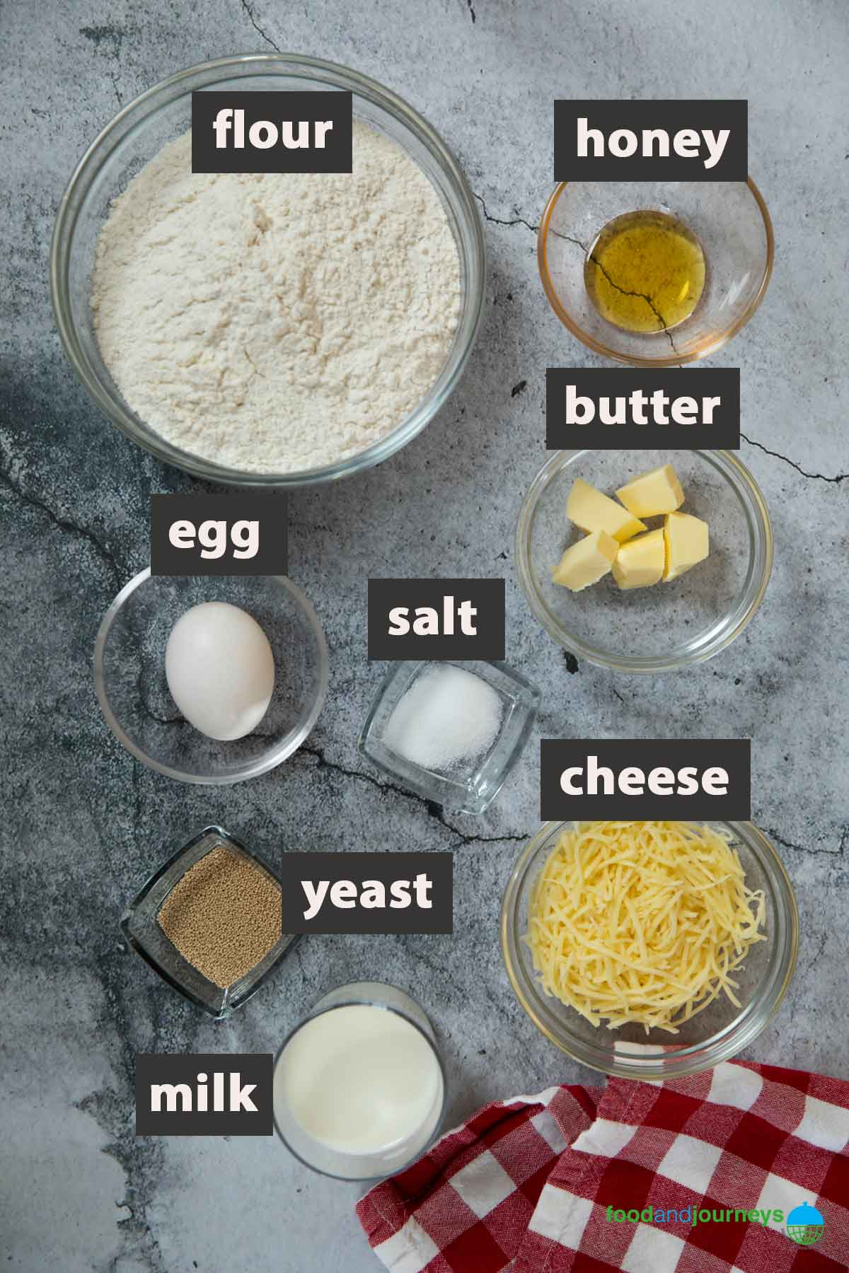 All the ingredients you need to have to make Swedish cheese buns at home.