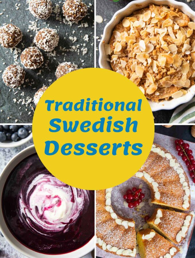 A collage of images showing a variety of traditional Swedish desserts.