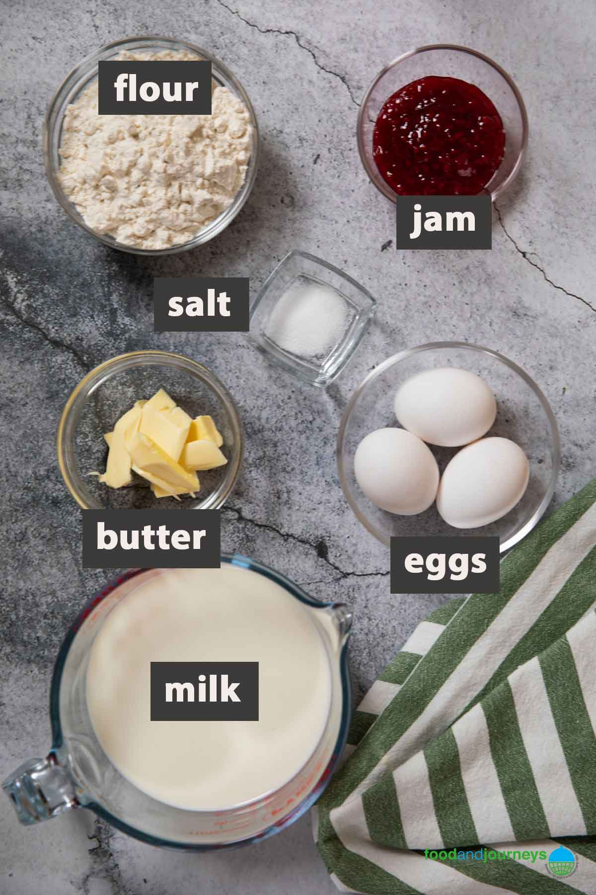 Alll the ingredients you need to prepare Swedish pancakes at home.