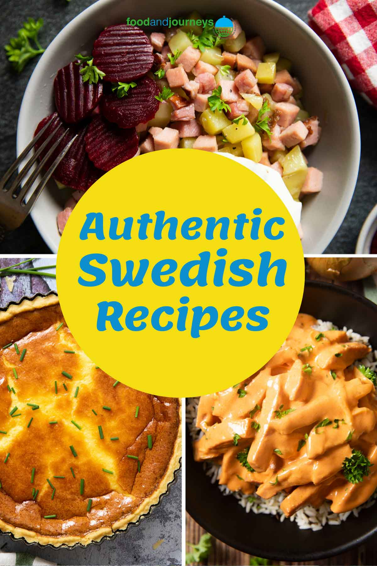 Latest cover for Authentic Swedish Recipes Post showing a collage of classic Swedish dishes.