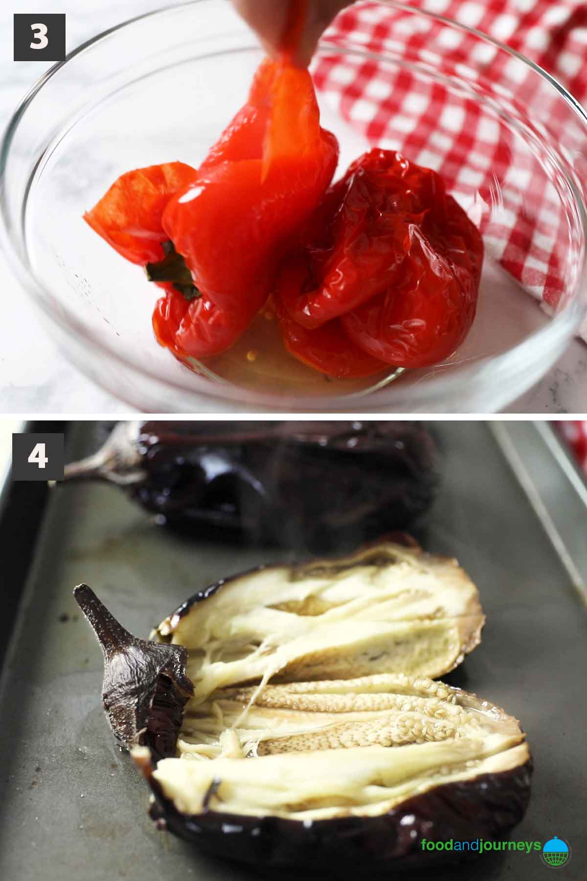 Second part of a collage of images showing how to prepare marinated eggplant at home.