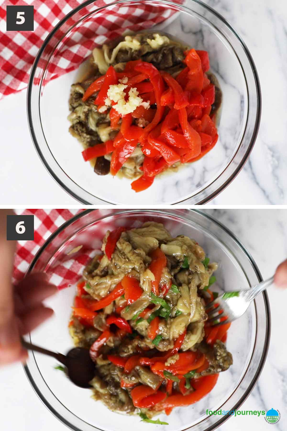 Last step of a collage of images showing the step by step process of making marinated eggplant and peppers.