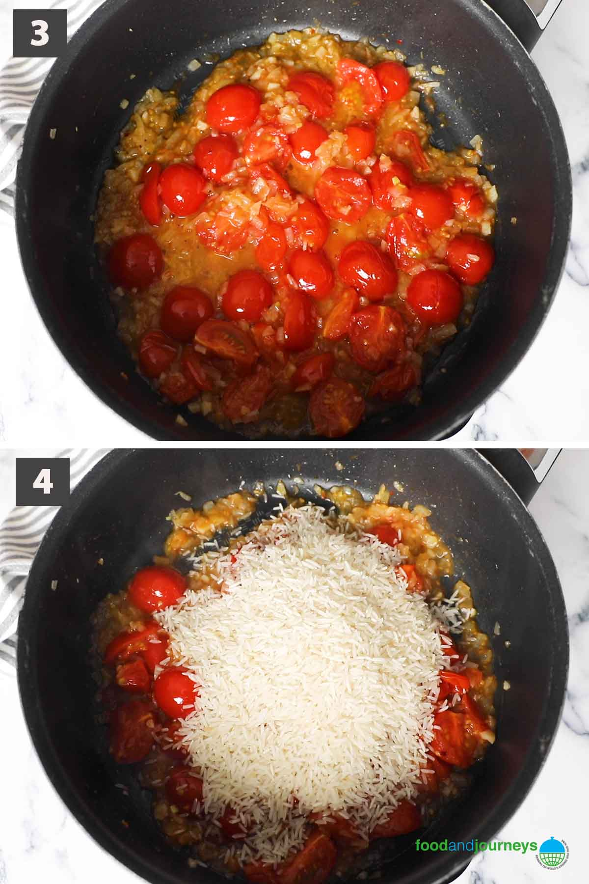 Latest second part of a collage showing the step by step process of making arroz de tomate at home.