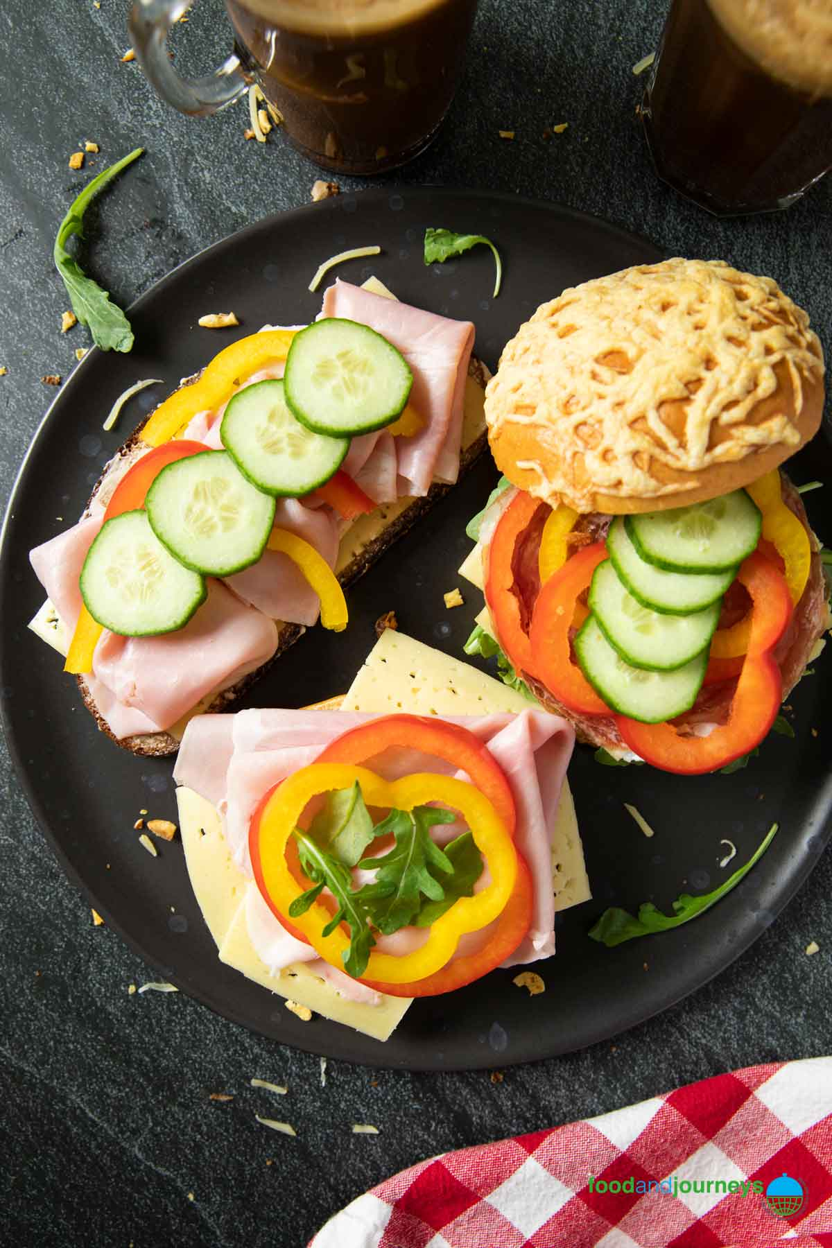 An overhead shot of usual types of sandwiches prepared for breakfast in Sweden.