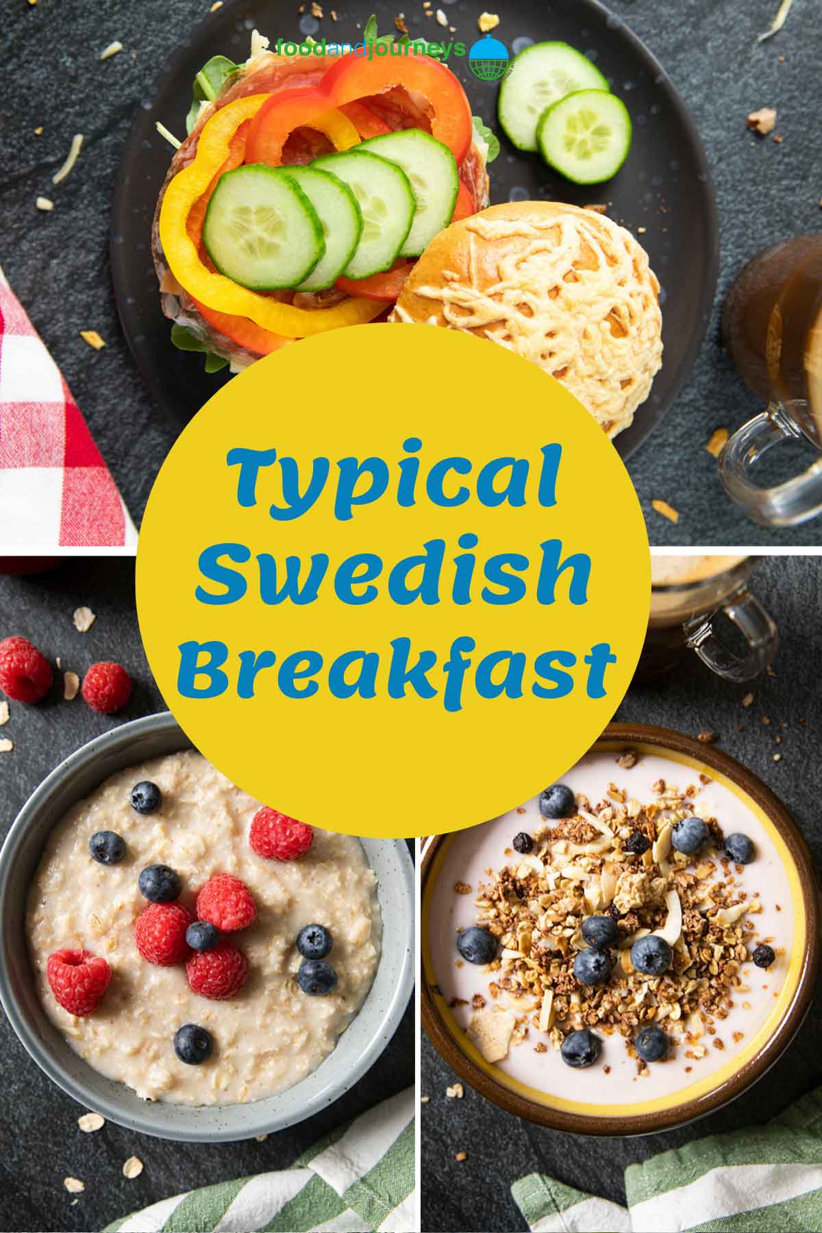 Cover for Guide for Swedish Breakfast, showing a collage of typical Swedish breakfast dishes.