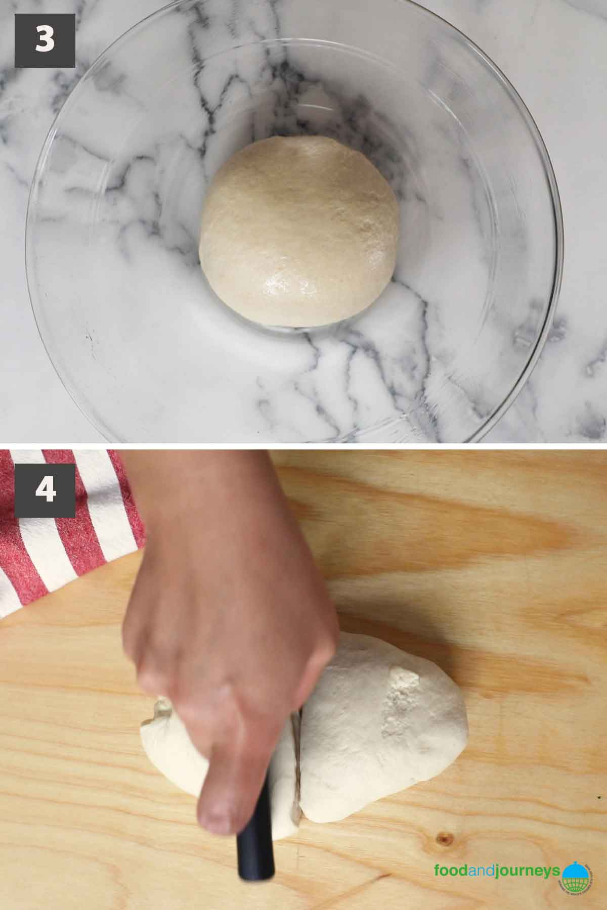 Second part of updated collage of image showing the step by step process of making cheese buns.